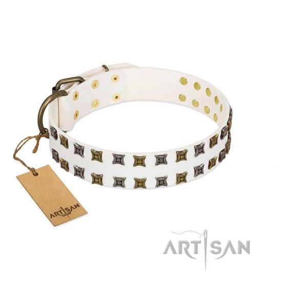"""Ice Peak"" FDT Artisan White Leather Cane Corso Collar with Silvery and Goldish Decorations"