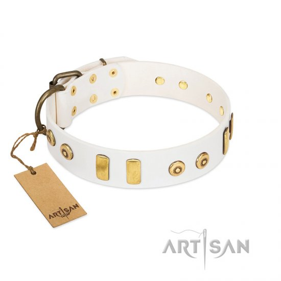"""Golden Union"" Elegant FDT Artisan White Leather Cane Corso Collar with Old Bronze-like Dotted Studs and Tiles"