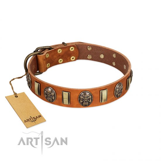 """Strike of Rock"" FDT Artisan Tan Leather Cane Corso Collar with Plates and Medallions with Skulls"