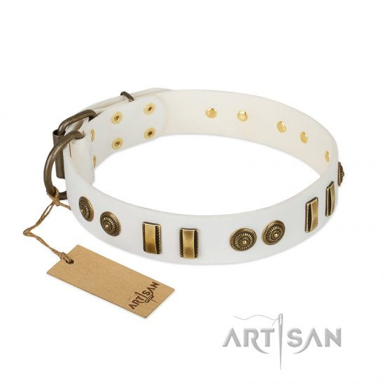 """Midsummer Snow"" FDT Artisan White Leather Cane Corso Collar with Old Bronze-like Plates and Circles"