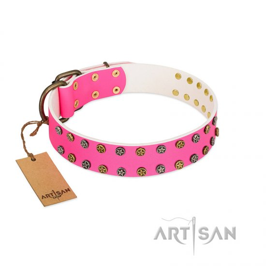 """Blushing Star"" FDT Artisan Pink Leather Cane Corso Collar with Two Rows of Small Studs"