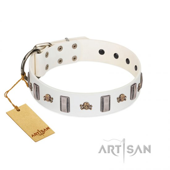 """Mysterious Voyage"" FDT Artisan White Leather Cane Corso Collar with Engraved Plates and Skulls"
