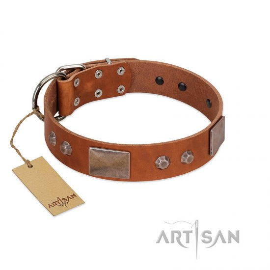 """Great Obelisk"" Handcrafted FDT Artisan Tan Leather Cane Corso Collar with Large Plates and Pyramids"