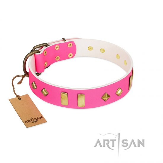 """Gentle Temptation"" FDT Artisan Pink Leather Cane Corso Collar with Goldish Plates and Studs"