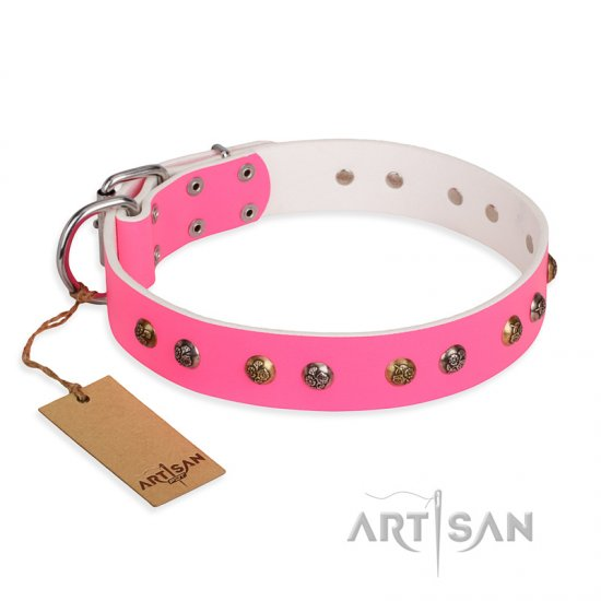 """Sheer love"" Pink Leather FDT Artisan Cane Corso Collar with Old-look Hemisphere Studs"