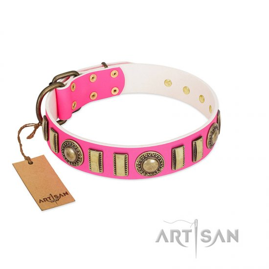 """La Femme"" FDT Artisan Pink Leather Cane Corso Collar with Ornate Brooches and Small Plates"