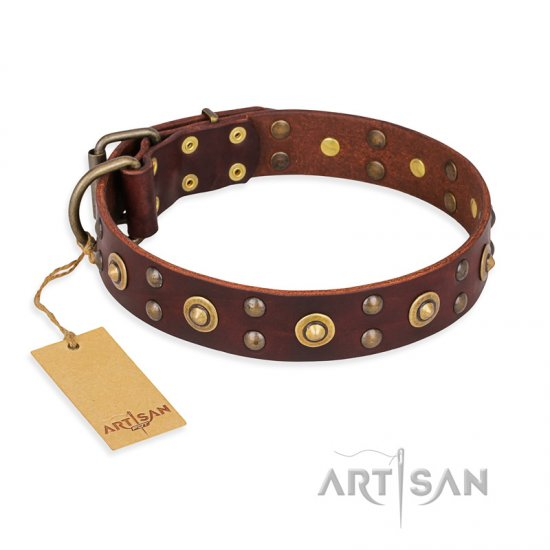 """Caprice of Fashion"" FDT Artisan Brown Leather Cane Corso Collar with Round Decorations"