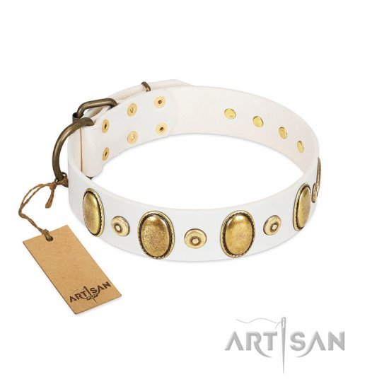 """Pearly Grace"" FDT Artisan White Leather Cane Corso Collar with Engraved Ovals and Small Dotted Studs"