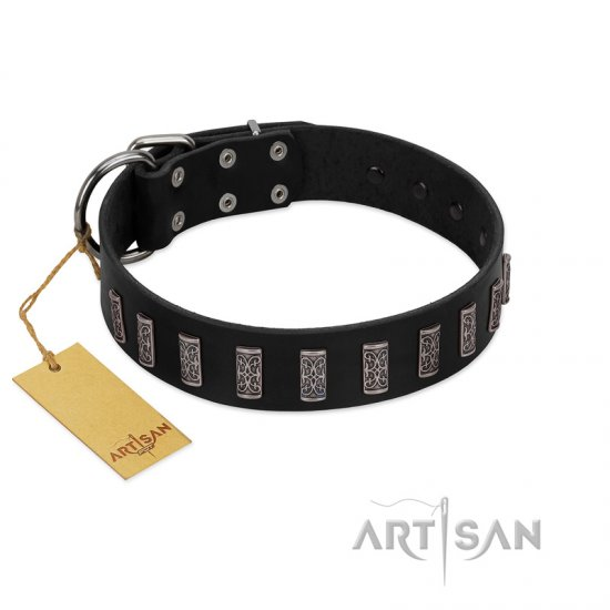 """Black Prince"" Handmade FDT Artisan Black Leather Cane Corso Collar with Silver-Like Adornments"