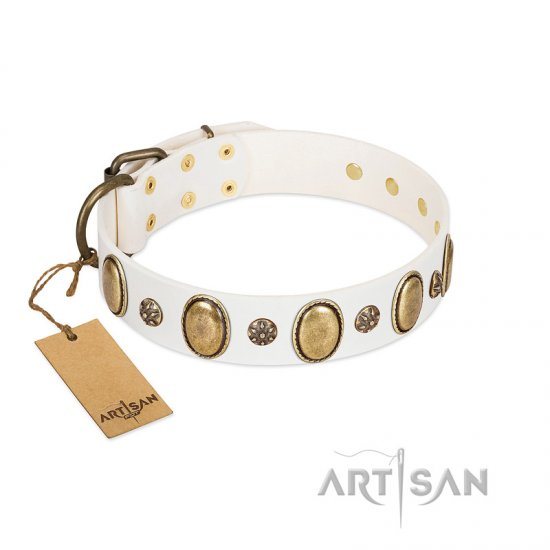 """Nifty Doodad"" FDT Artisan White Leather Cane Corso Collar with Amazing Large Ovals and Small Studs"