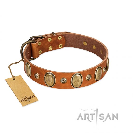 """Venus Breath"" FDT Artisan Tan Leather Cane Corso Collar with Vintage Looking Oval and Round Studs"