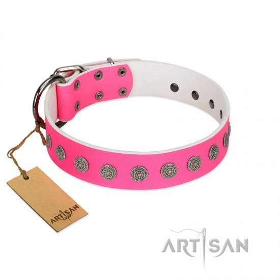 """Pop Star"" Handcrafted FDT Artisan Pink Leather Cane Corso Collar with Round Plates"