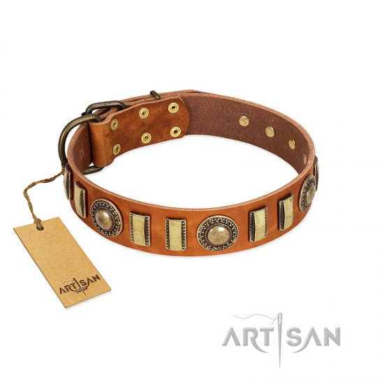 """Happy Hound"" FDT Artisan Tan Leather Cane Corso Collar with Elegant Decorations"