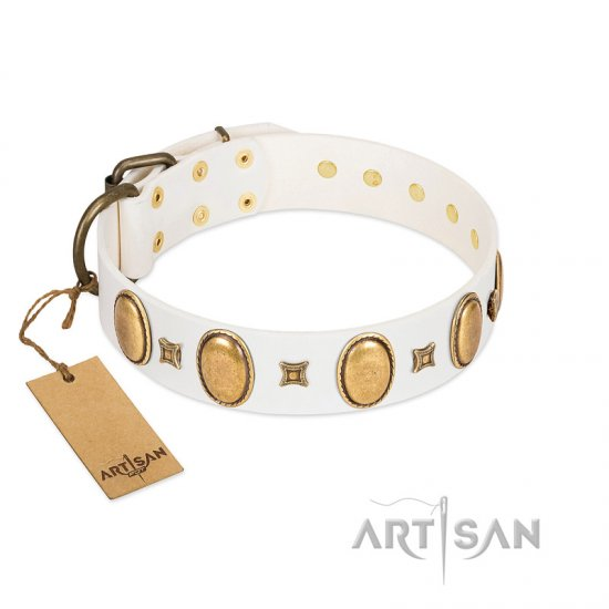 """Chichi Pearl"" Designer Handmade FDT Artisan White Leather Cane Corso Collar with Ovals and Studs"