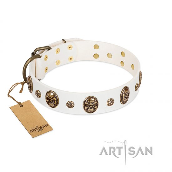 """Magic Bullet"" FDT Artisan White Leather Cane Corso Collar with Studs and Skulls"