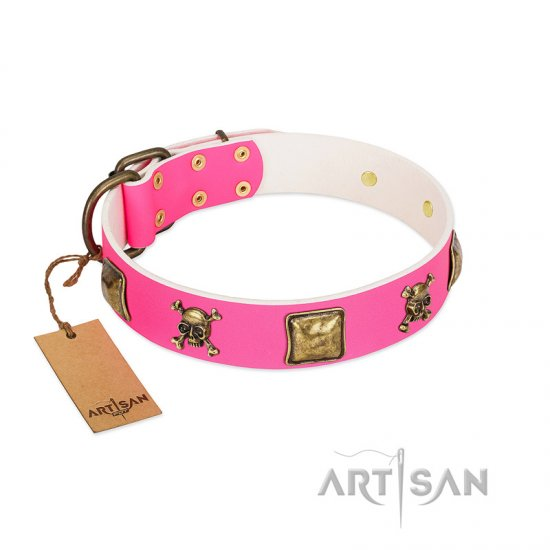 """Wild and Free"" FDT Artisan Pink Leather Cane Corso Collar with Skulls and Crossbones Combined with Squares"