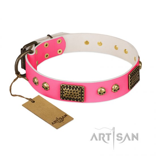"""Vintage and Glamour"" FDT Artisan Pink Leather Cane Corso Collar with Old Bronze Look Plates and Skulls"