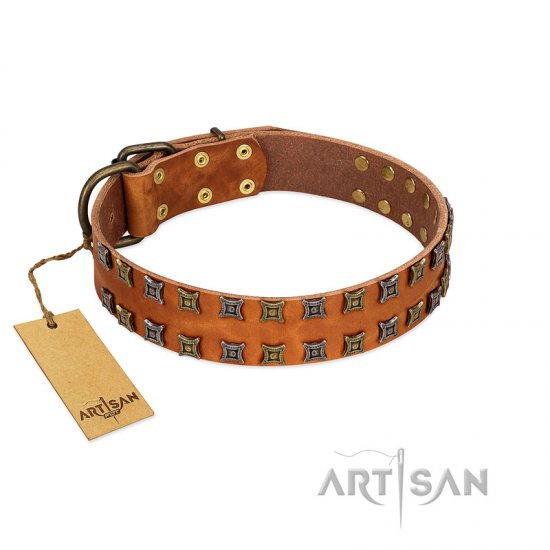 """Terra-cotta"" FDT Artisan Tan Leather Cane Corso Collar with Two Rows of Studs"