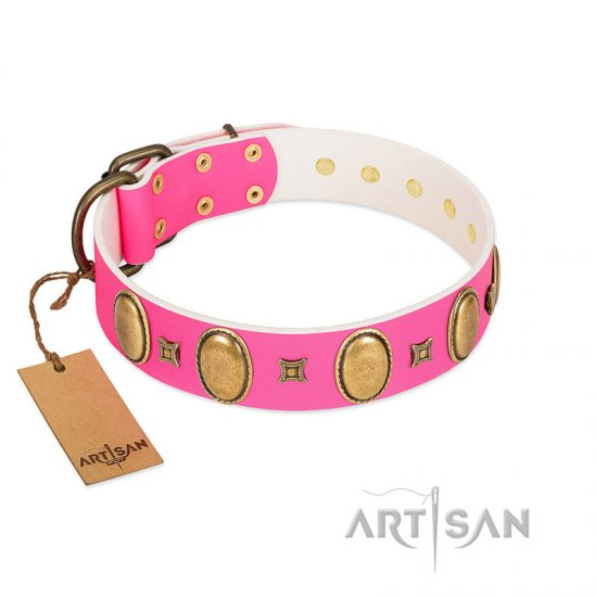 """Pawfect Lady"" Designer Handmade FDT Artisan Pink Leather Cane Corso Collar with Ovals and Studs"