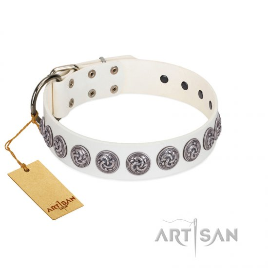 """Bohemian Spirit"" Handmade FDT Artisan White Leather Cane Corso Collar with Vintage Decorations"