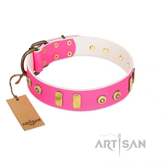 """Prim'N'Proper"" Handmade FDT Artisan Pink Leather Cane Corso Collar with Old Bronze-like Dotted Studs and Tiles"