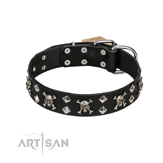 FDT Artisan 'Rock 'n' Roll Style' Leather Cane Corso Collar with Skulls, Bones and Studs 1 1/2 inch (40 mm) wide