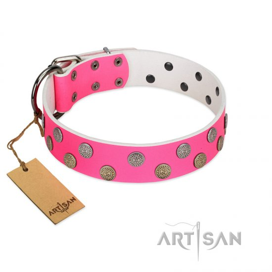"""Lucky Pink"" Designer FDT Artisan Pink Leather Cane Corso Collar with Medallions"