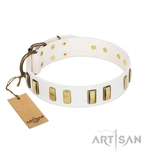 """Glorious Light"" FDT Artisan White Leather Cane Corso Collar with Old Bronze-like Plates"