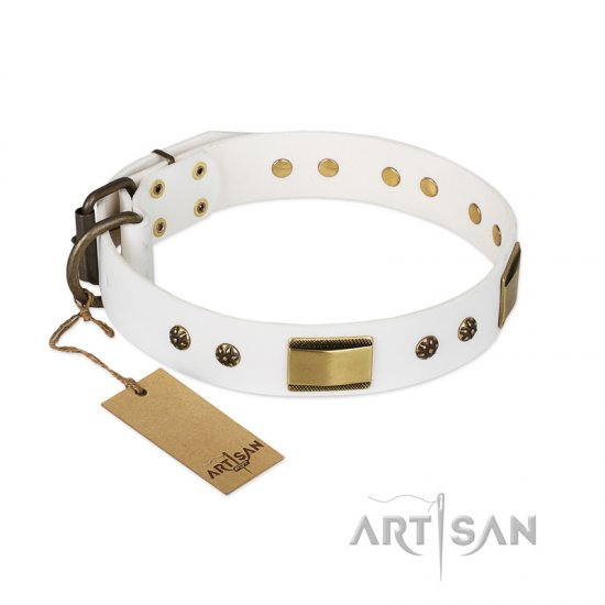 """Precious Necklace"" FDT Artisan White Leather Cane Corso Collar with Old Bronze Look Plates and Studs"