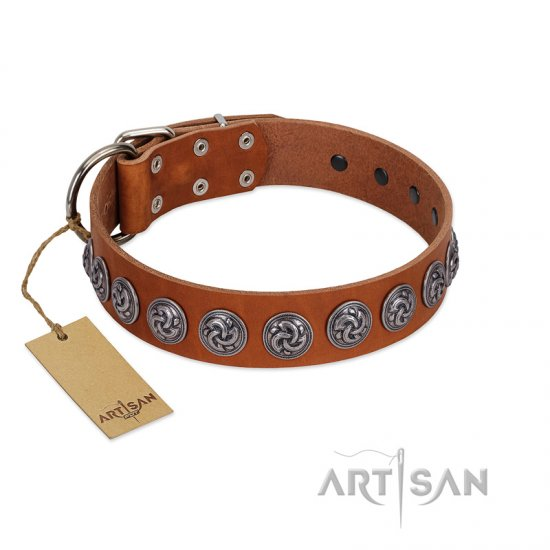 """Velvet Kiss"" Handmade FDT Artisan Tan Leather Cane Corso Collar with Vintage Medallions"