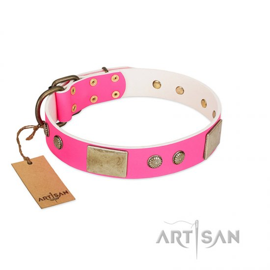 """Flower Parade"" FDT Artisan Pink Leather Cane Corso Collar with Plates and Studs"