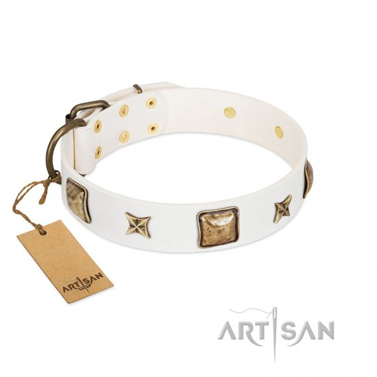 """Dog in White"" FDT Artisan White Leather Dog Collar Adorned with Stars and Squares"