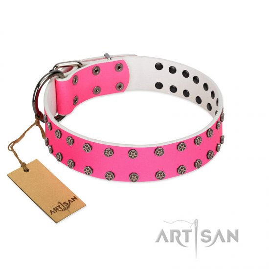 """Pink Fashion"" Designer FDT Artisan Pink Leather Cane Corso Collar with Silver-Like Studs"