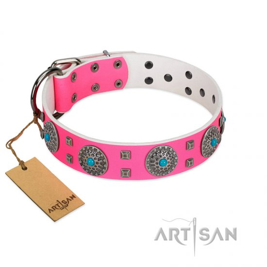 """Pink Delight"" FDT Artisan Pink Leather Cane Corso Collar for Everyday Walking"