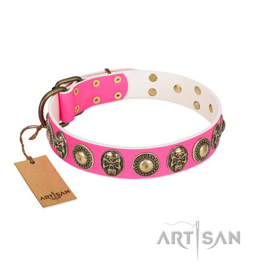 """Two Extremes"" FDT Artisan Pink Leather Cane Corso Collar with Elegant Conchos and Medallions with Skulls"