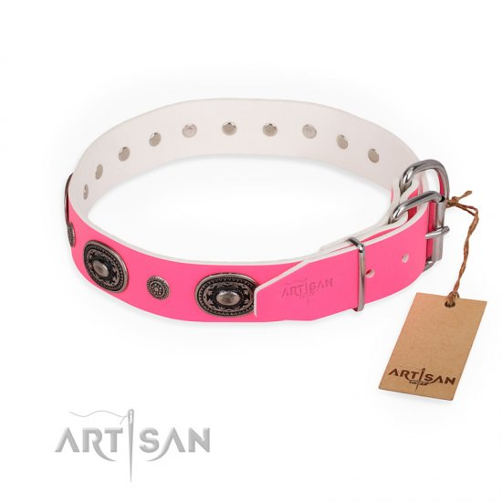 """Flavor of Strawberry"" FDT Artisan Flashy Pink Leather Cane Corso Collar"