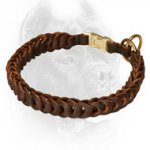 Hand-Braided Leather Choke Dog Collar with Easy Quick Release Buckle