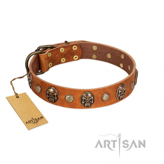 """Call of Feat"" FDT Artisan Tan Leather Cane Corso Collar with Old Bronze-like Studs and Oval Brooches"