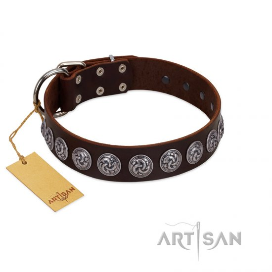 """Charming Circles"" FDT Artisan Brown Leather Cane Corso Collar with Silver-like Studs"