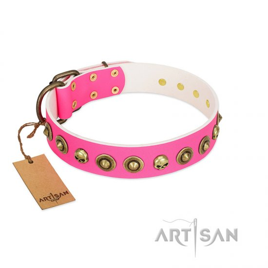 """Pawty Time"" FDT Artisan Pink Leather Cane Corso Collar with Decorative Skulls and Brooches"
