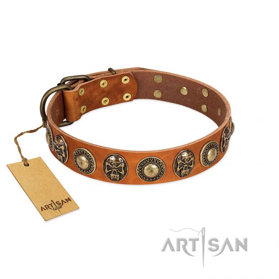 """Golden Epoch"" FDT Artisan Tan Leather Cane Corso Collar with Old Bronze-plated Medallions and Conchos"