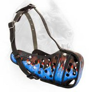 Reinforced Leather Cane Corso Muzzle with Blue Flames Painting