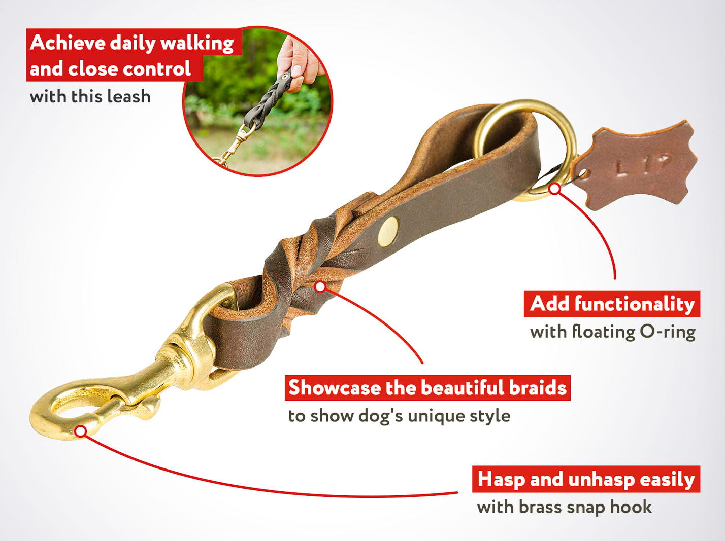 8 Inch Short Pull Tab Leather Cane Corso Leash