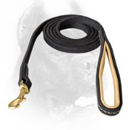 Stitched Leather Cane Corso Leash with Padded Handle