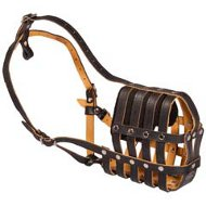 Mesh Cage Best Leather Dog Muzzle-Super Ventilation Cane Corso Muzzle