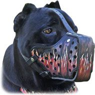 Handcrafted Flamed Design Reinforced Leather Cane Corso Muzzle