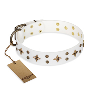 'Bright stars' FDT Artisan White Leather Cane Corso Dog Collar with Old Bronze Look Decorations - 1 1/2 inch (40 mm) wide