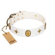 """Hollywood Star"" FDT Artisan White Leather Cane Corso Collar with Ovals and Stars - 1 1/2 inch Wide"