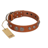 """Era Infinitum"" FDT Artisan Tan Leather Cane Corso Collar Adorned with Chrome-plated Circles"