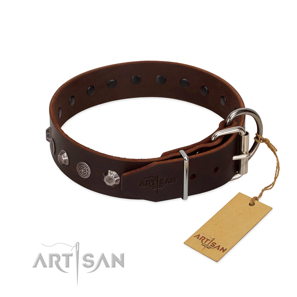 Durable traditional buckle on genuine leather dog collar for fancy walking